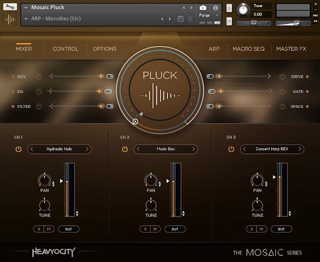 Interface da Library Heavyocity - Mosaic Pluck (KONTAKT)