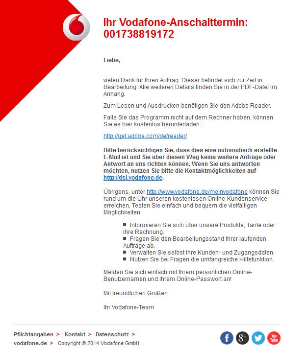 Phishing-Mail Alerts: Ihr Vodafone-Anschalttermin: 001343920529