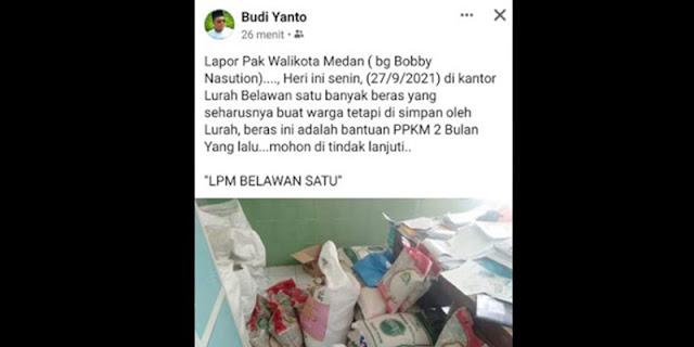 Temukan Bantuan Sembako Menumpuk Di Kantor Lurah, Ketua LPM Belawan Minta Walikota Medan Lakuksn Sidak