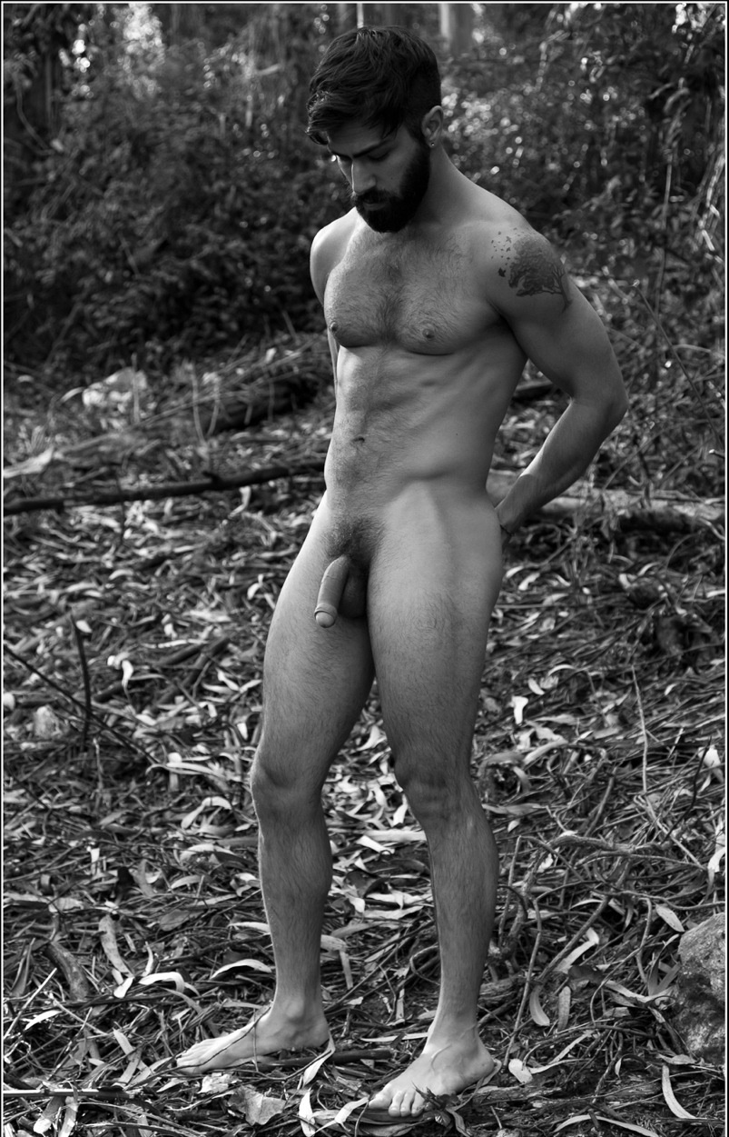 Men naked in the woods