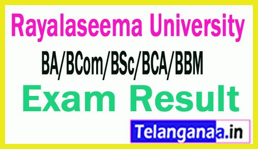 Rayalaseema University RU UG (BA/BCom/BSc/BCA/BBM) 1st Sem Results
