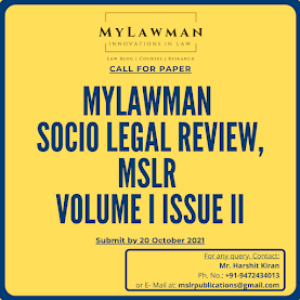 [Call for Papers] MyLawman Socio Legal Review Journal by MyLawman [Submit by 20 October 2021]