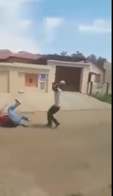 Bully Gets Bullied As He Falls And Beg When Threatened With A Big Stone