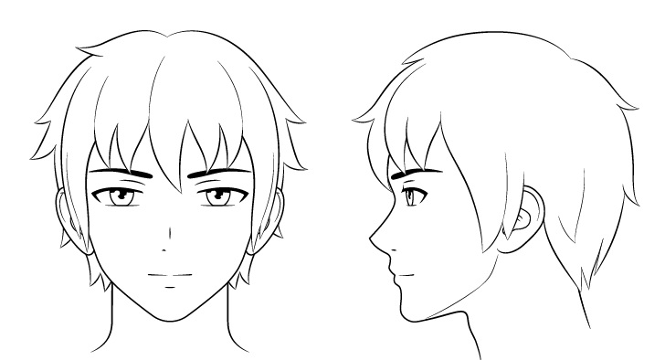 Gambar garis wajah pria anime