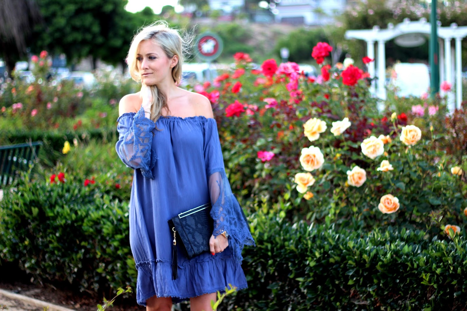 Off The Shoulder Grey Dress C O Lulus Her Me Timbers Black Clutch And Anne Michelle Enzo 01n Nubuck Single Strap Heels