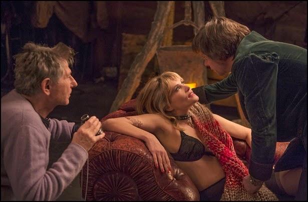 Roman Polanski, Emmanuelle Seigner et Mathieu Amalric sur le tournage de La Vénus à la fourrure (2013)