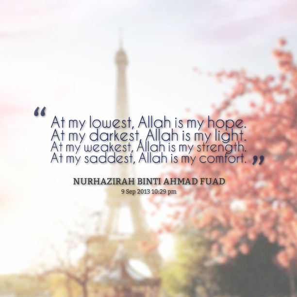 At my lowest, Allah in my hope quote