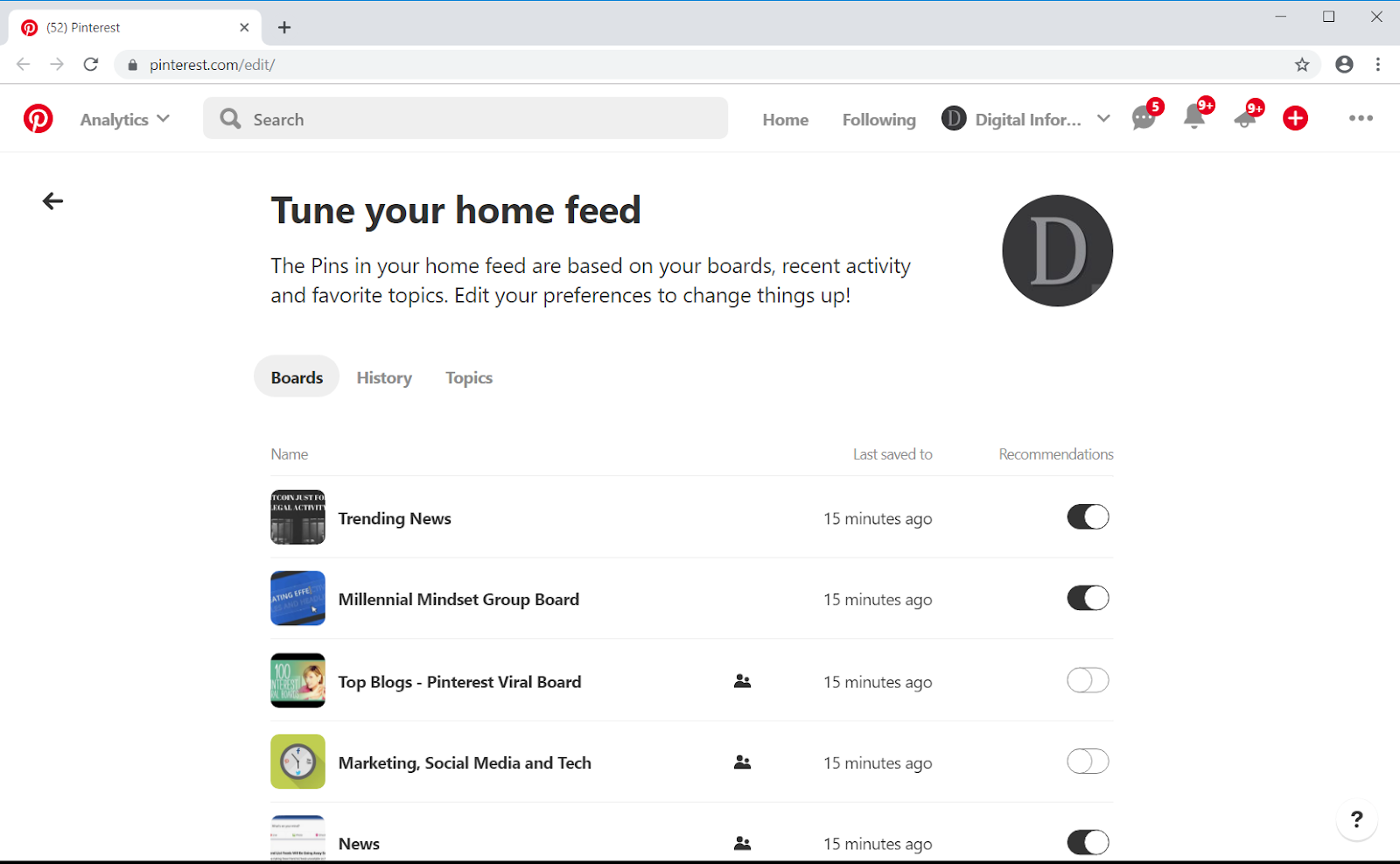 With the home feed tuner you can: Toggle home feed recommendations on and off, Flip on or off if you want to see more ideas, Receive recommendations for secret boards