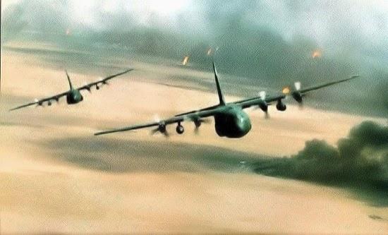 Lockheed C-130 Hercules de EEUU volando sobre Kuwait