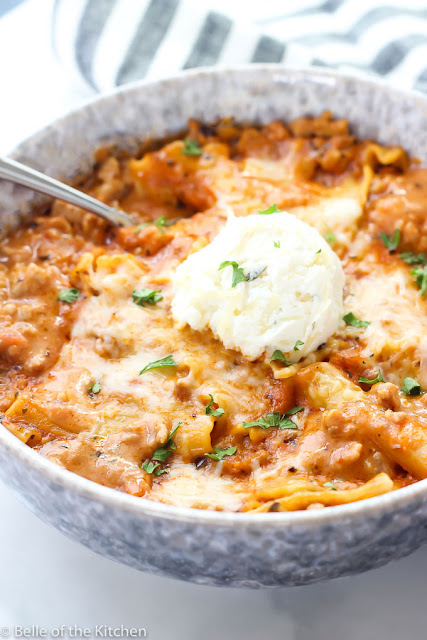 Instant Pot recipe for Lasagna Soup from Belle of the Kitchen
