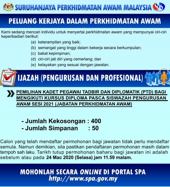 Jawatan Kosong Pegawai Tadbir dan Diplomatik PTD Ambilan ...