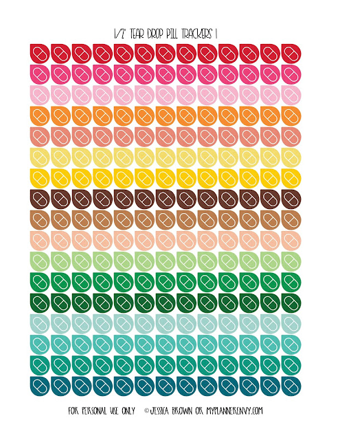 "Free printable 1/2"" Tear Drop Pill Trackers page 1 of 3 from myplannerenvy.com"