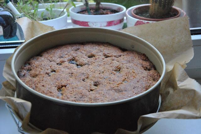 Nach dem Backen: Kirschkuchen mit Schokolade