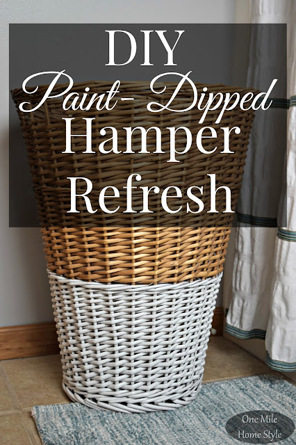 DIY Paint-Dipped Hamper Refresh using spray paint - One Mile Home Style