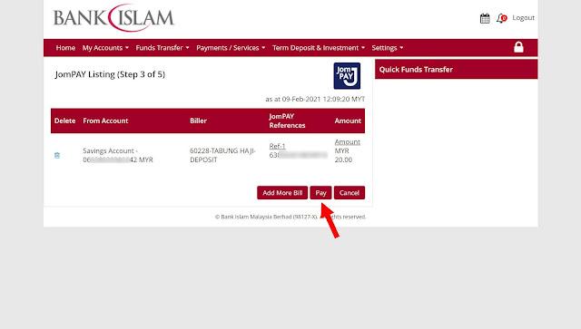 cara deposit wang ke tabung haji guna jompay melalui bank islam