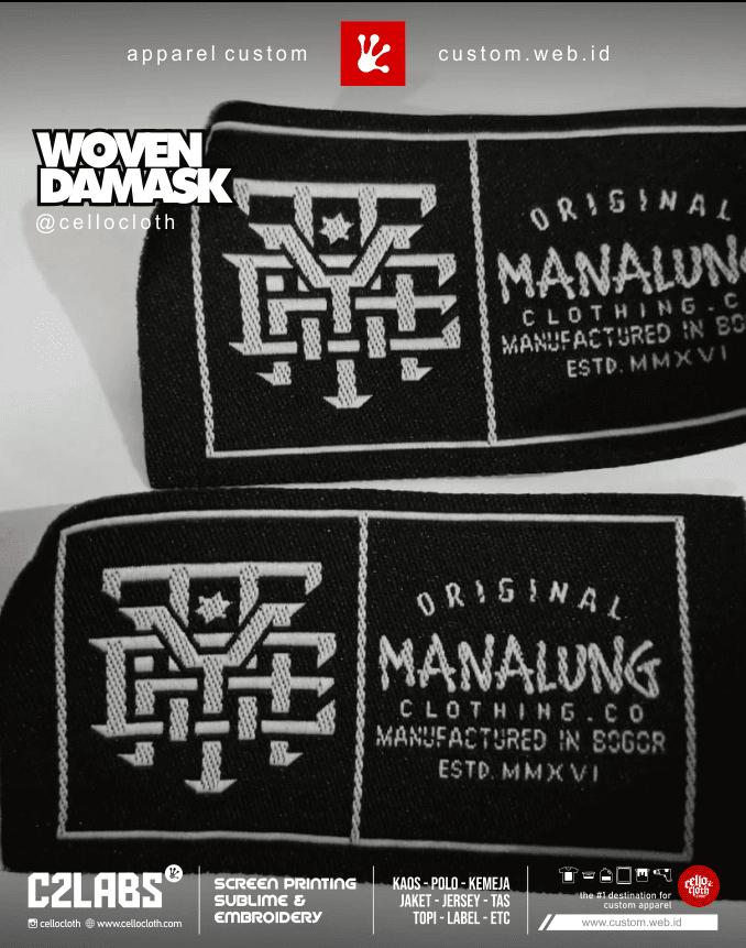 Custom Label Kaos Woven Damask C2 Labs - Jogja