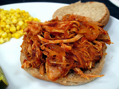 Slow Cooker Barbecue Pulled Chicken Sandwiches from Elly Says Opa found on SlowCookerFromScratch.com