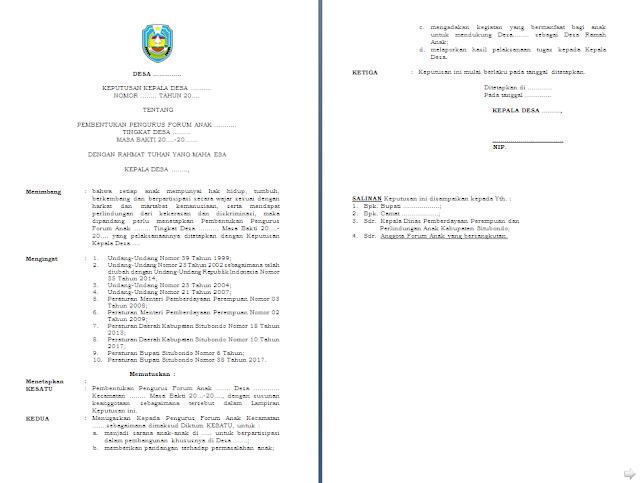 SK Pembentukan Forum Anak Tingkat Desa