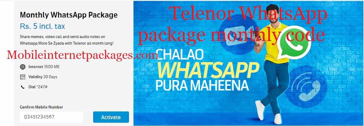 Telenor WhatsApp package monthly code