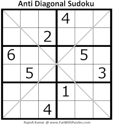 Anti Diagonal Sudoku Puzzle (Mini Sudoku Series #111)