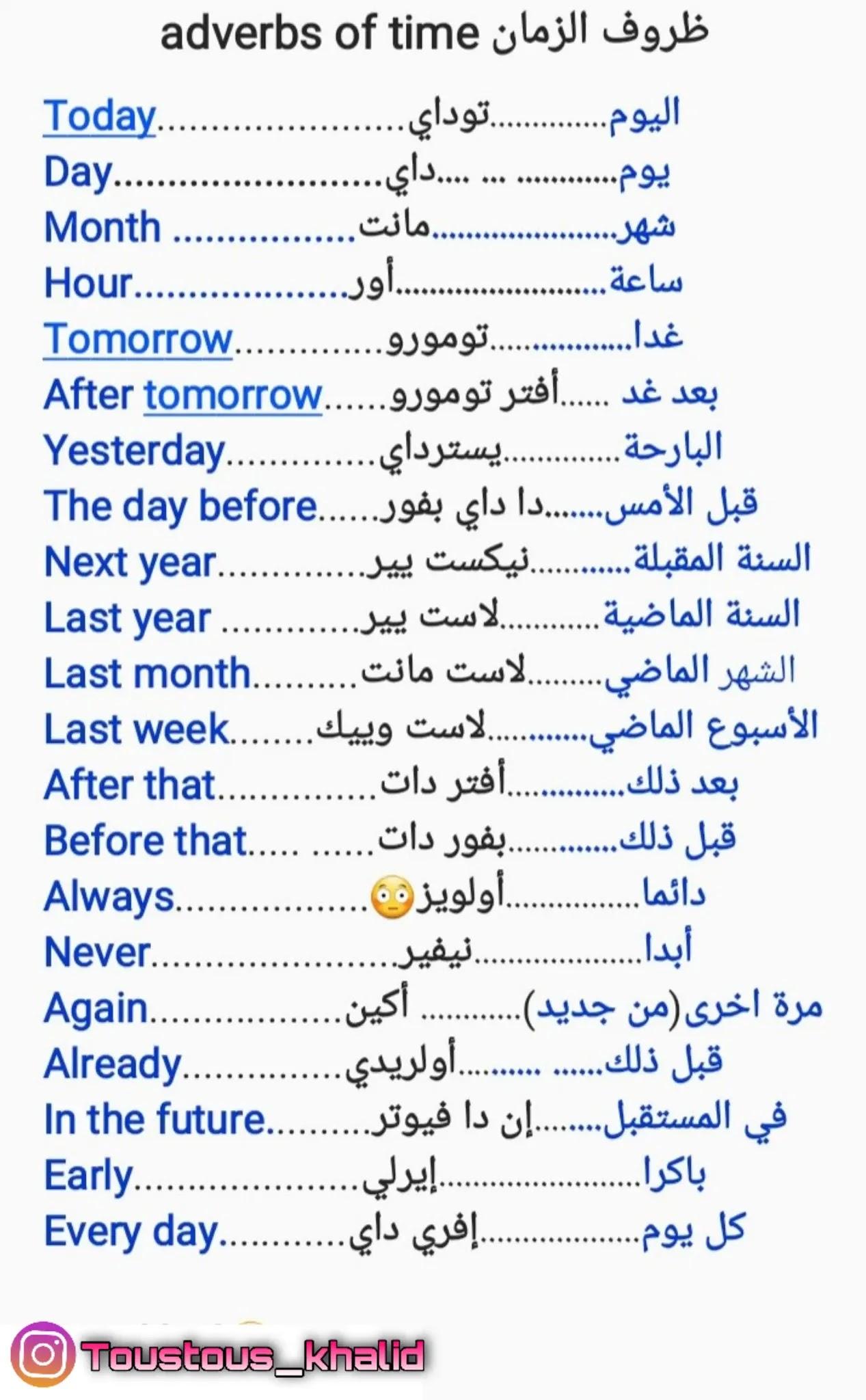 ظروف الزمان والمكان Adverbs of time and place