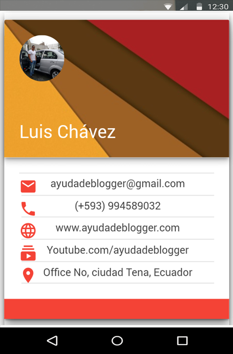 Widget card negocios Material design Blogger