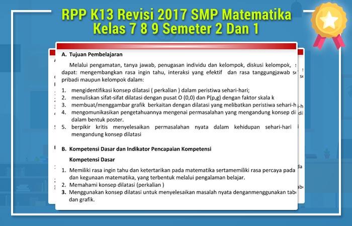 RPP K13 Revisi 2017 SMP Matematika Kelas 7 8 9 Semeter 2 Dan 1