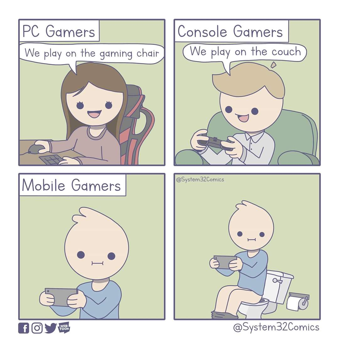 where pc console and mobile gamers usually play