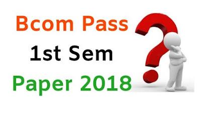 Mdu BCom Pass 1st Sem Question Papers 2018