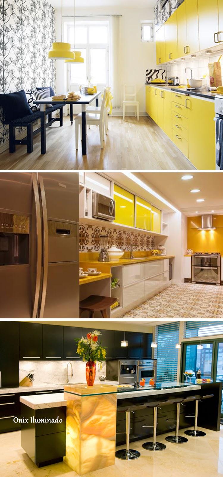decoração cozinha amarela e onix