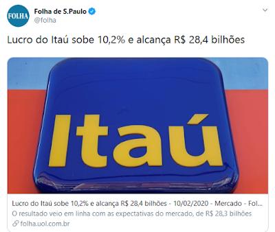 Lucro do Itaú, em twitter da Folha