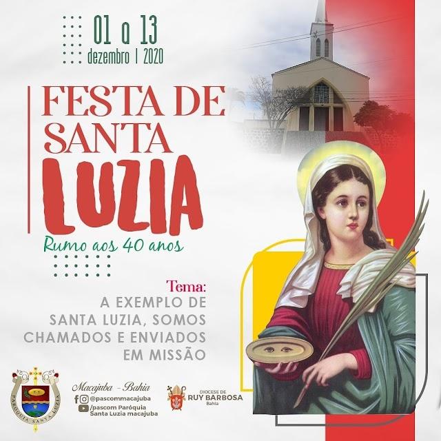 Festa de Santa Luzia padroeira de Macajuba inicia nesta terça-feira