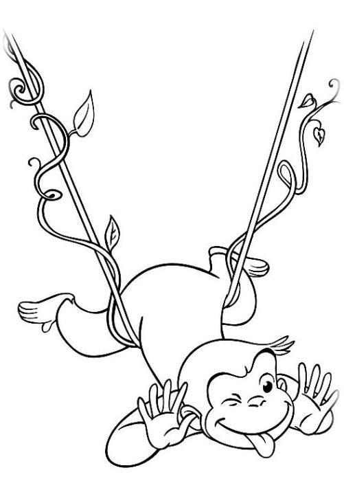 Hình tô màu con khỉ đu dây