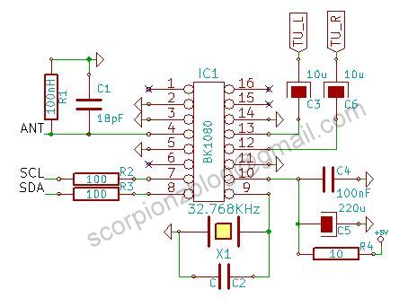 I2C FM Receiver Circuit with LCD - 16F88 BK1080 ~ Scorpionz