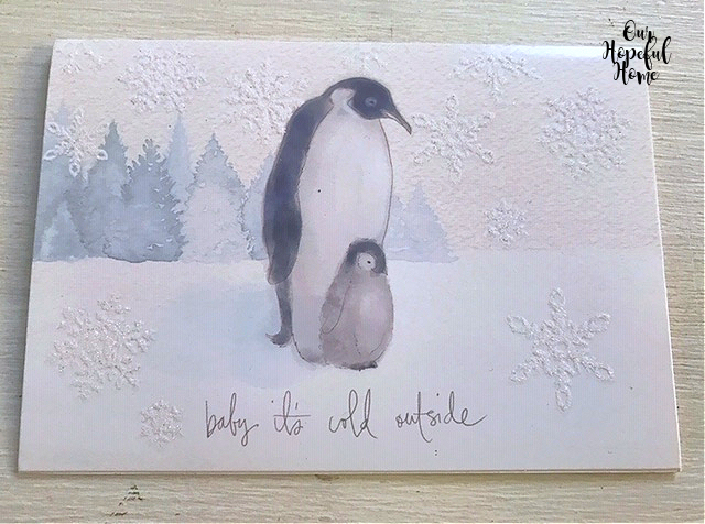 Baby its cold outside Christmas card two penguins snowflakes pine trees