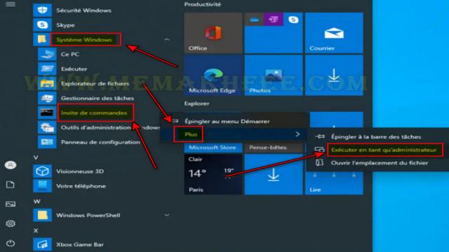 فتح موجه الأوامر عبر قائمة ابدأ في Windows 10
