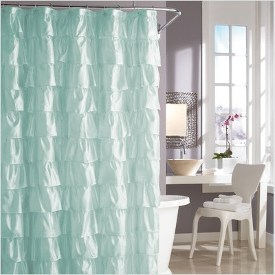 Steve Madden Ruffles Rule Aqua Shower Curtain