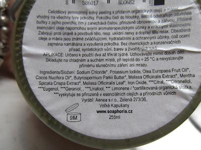 Soaphoria  Medovková limonáda - organický soľný telový peeling zloženie