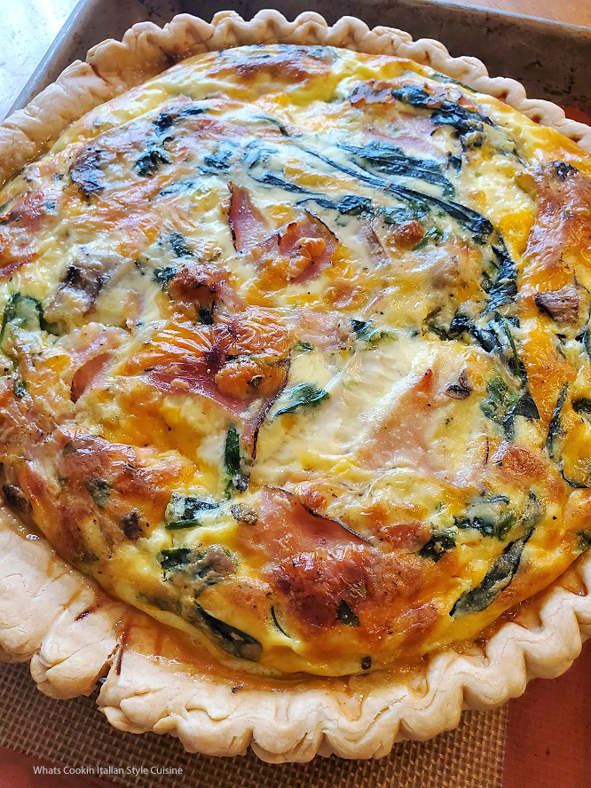 this is a baked pie called Quiche with Spinach and Italian cheese