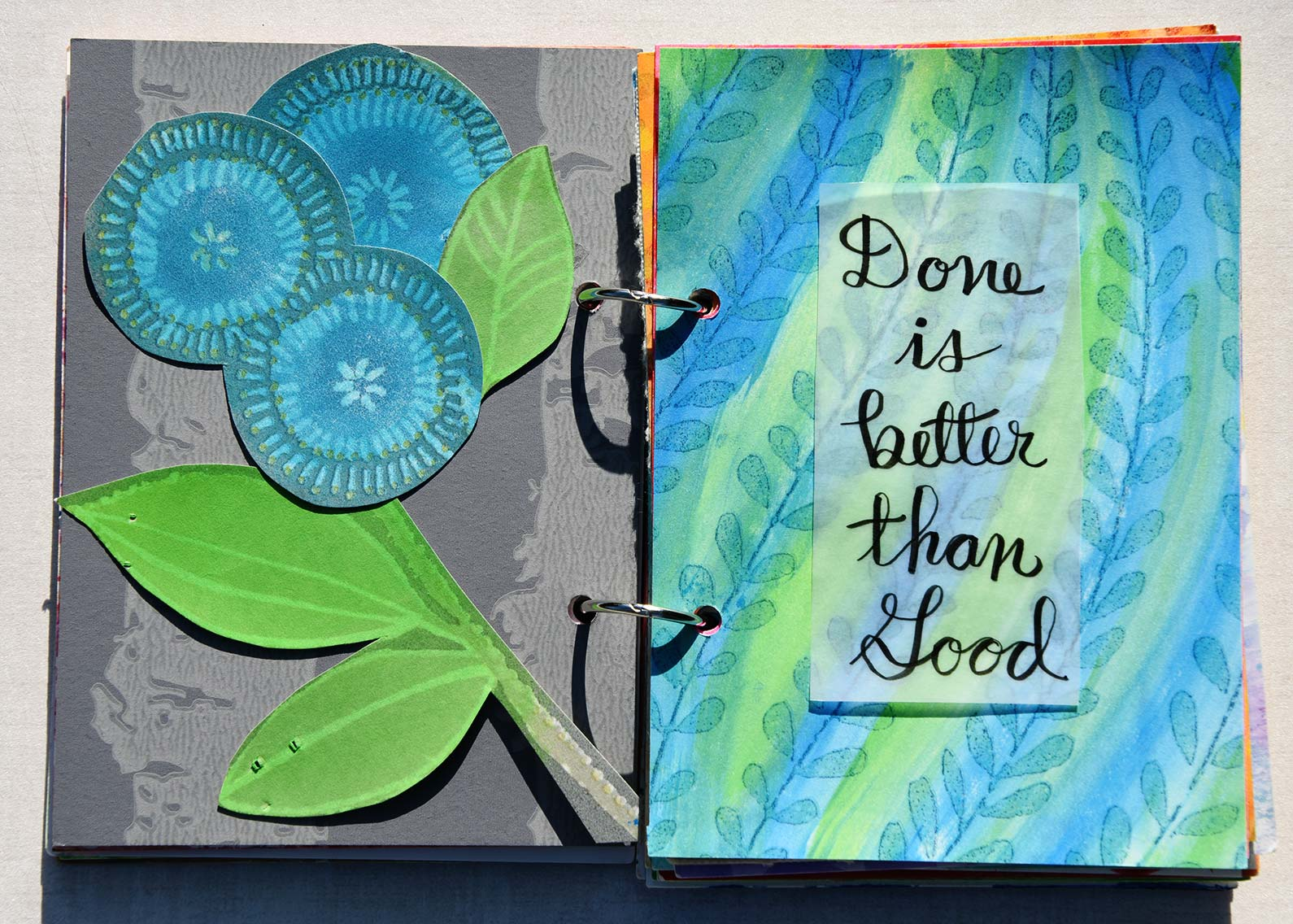 Done is Better than Good Art Journal pages