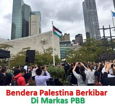 Untuk Pertama Kalinya Bendera Palestina Berkibar Di Depan PBB