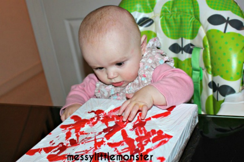 activities for babies - mess free painting