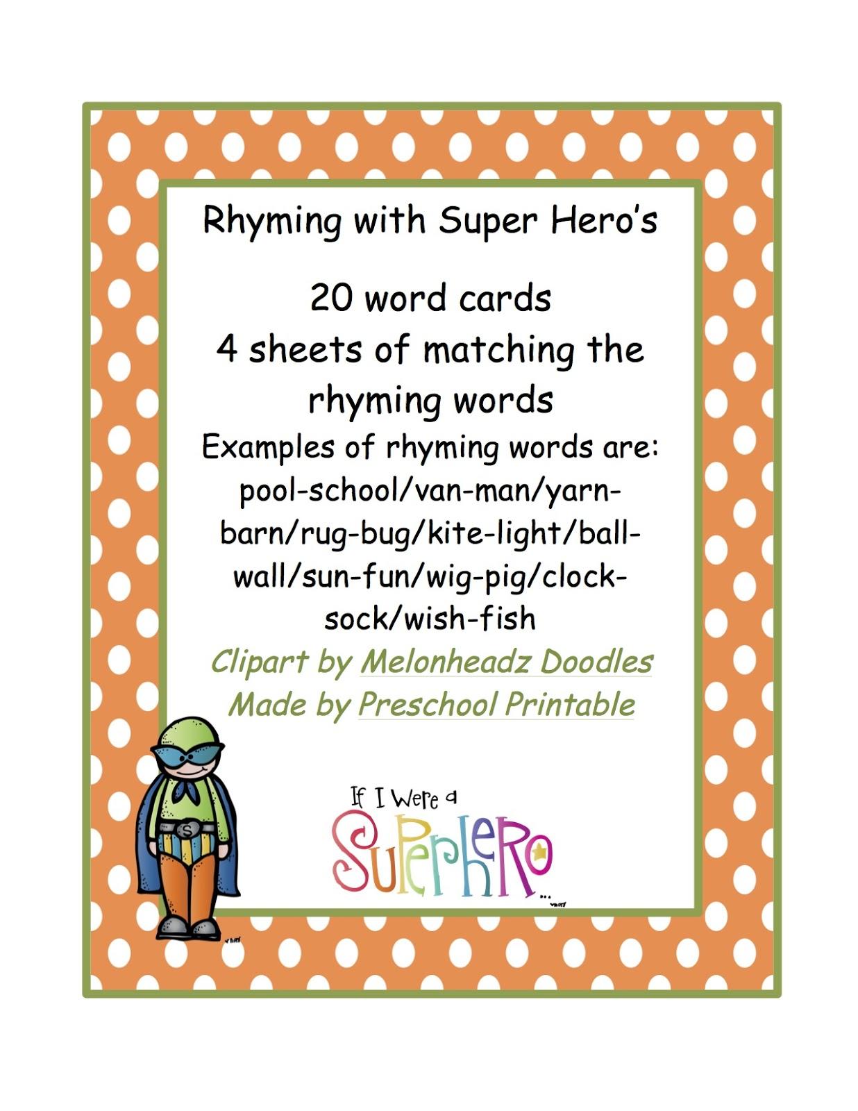 Rhyming Words With Super Hero S Preschool Printables