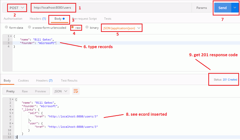 create new user record by spring data rest api