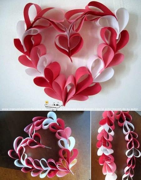C mo hacer una guirnalda de corazones portal de manualidades - Manualidades para decorar el hogar paso a paso ...