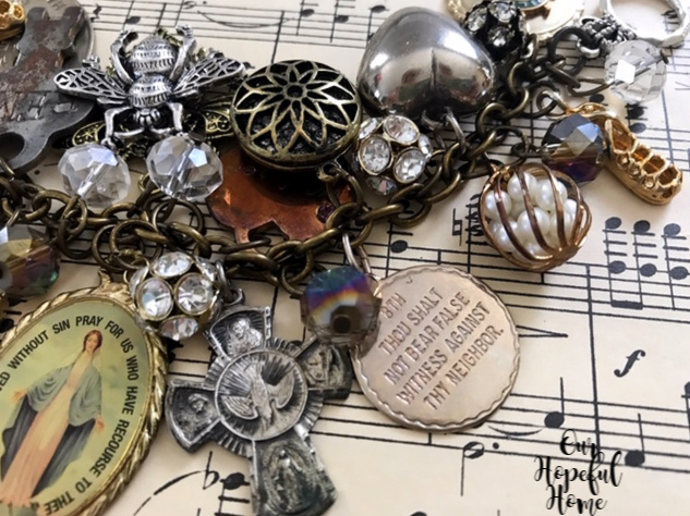 Miraculous medal four way cross charm pearls rhinestones Irish dance shoe charm