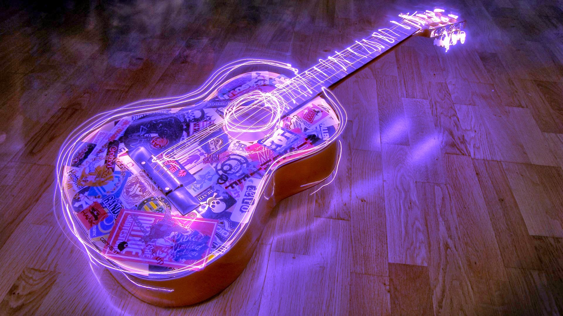 neon guitar full hd desktop wallpapers 1080p. Black Bedroom Furniture Sets. Home Design Ideas