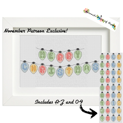 Cross Stitch Christmas Tree Lights Font