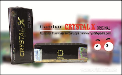 crystal x asli dengan pita hologram barcode