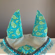 HORSE EAR BONNET - AQUA PAISLEY WITH SEQUIN TRIM AND BEADED FRINGE